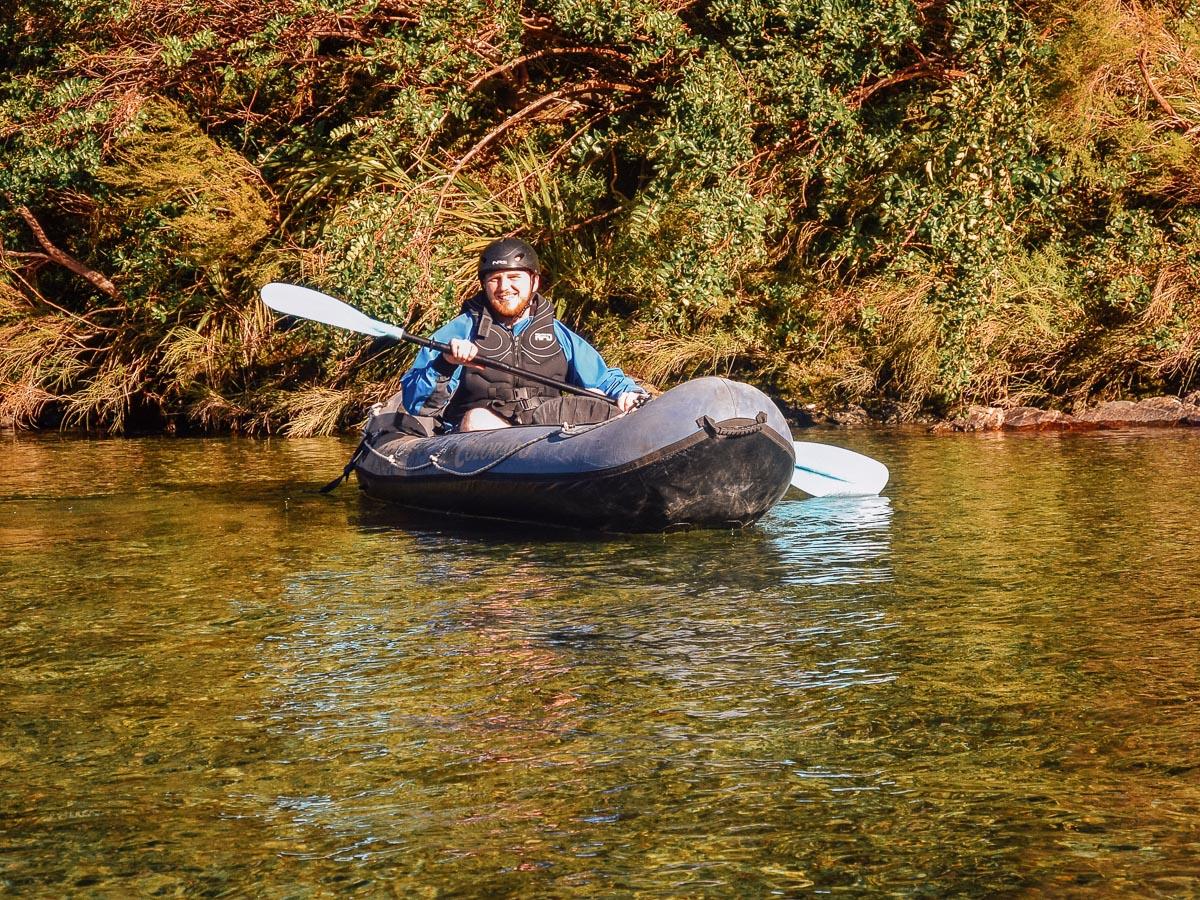Happy kayaker at the Pelorus river, Havelock
