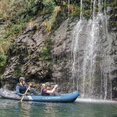 Kayaking behind falls at the Pelorus river