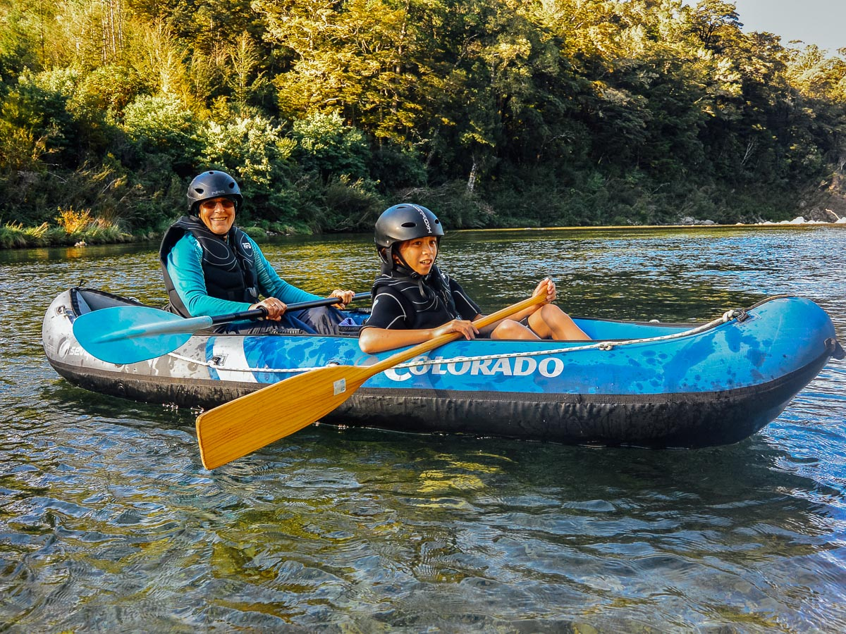 Mum and son kayaking the Pelorus river
