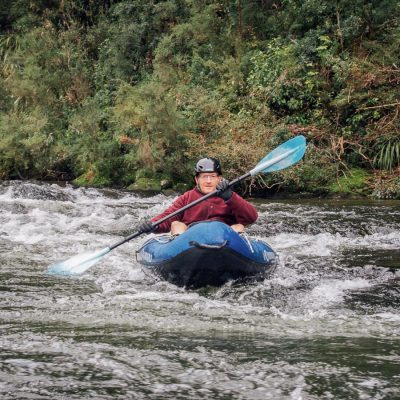 Solo kayaker at the Pelorus river