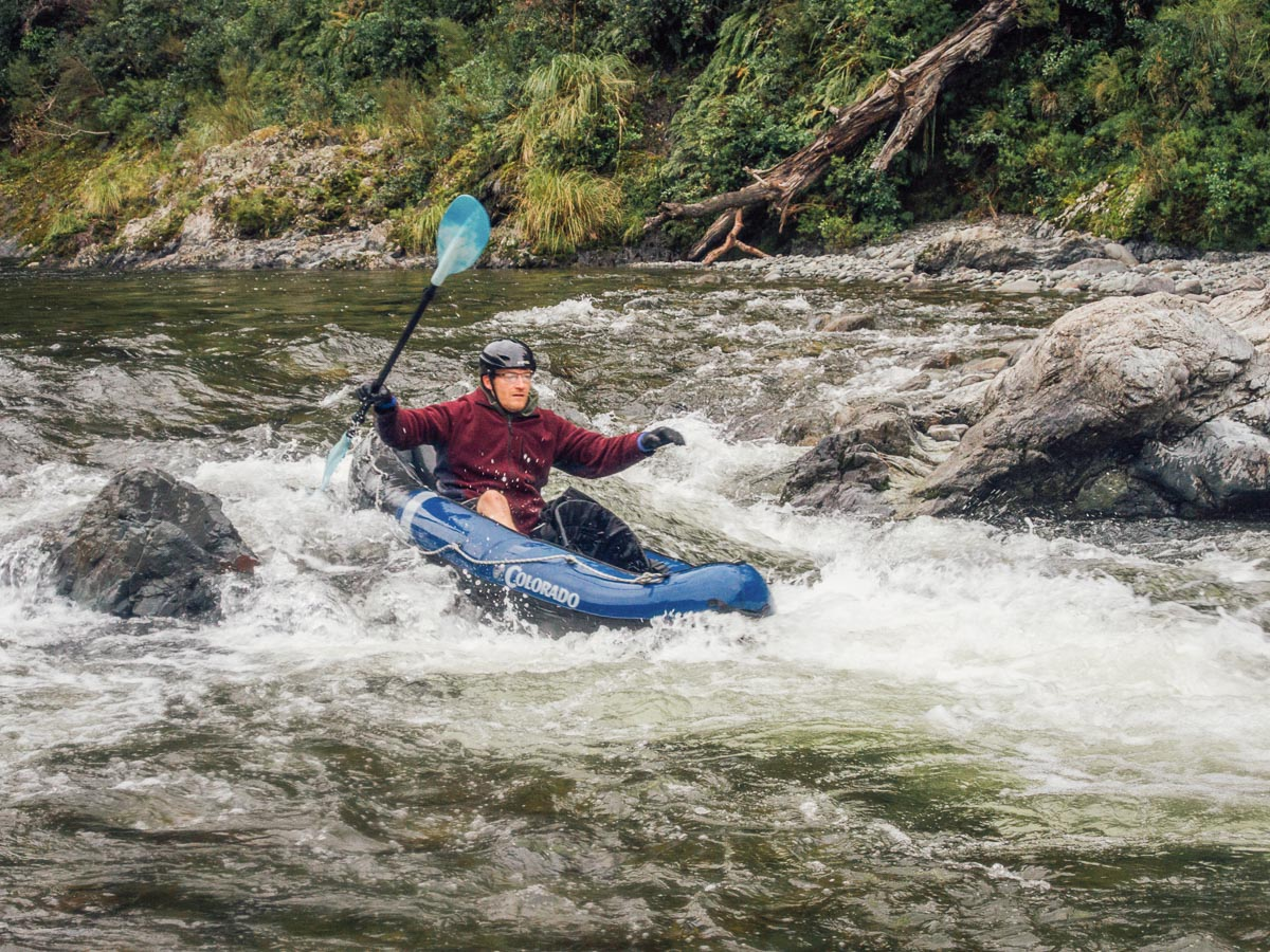 Solo kayaker at the Pelorus river rapids