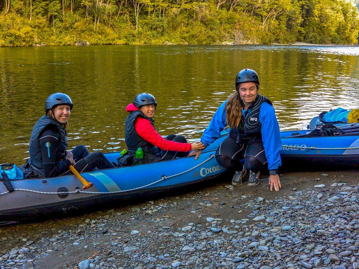 Kayakers at the Pelorus river, New Zealand