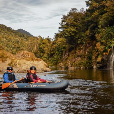 Couple Kayaking at the Pelorus River, New Zealand