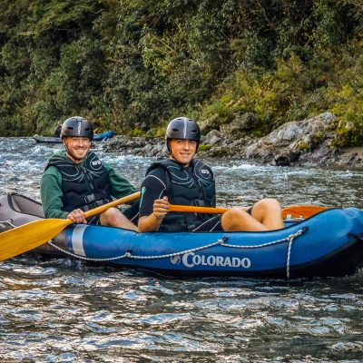 Friends kayaking at the Pelorus river, NZ