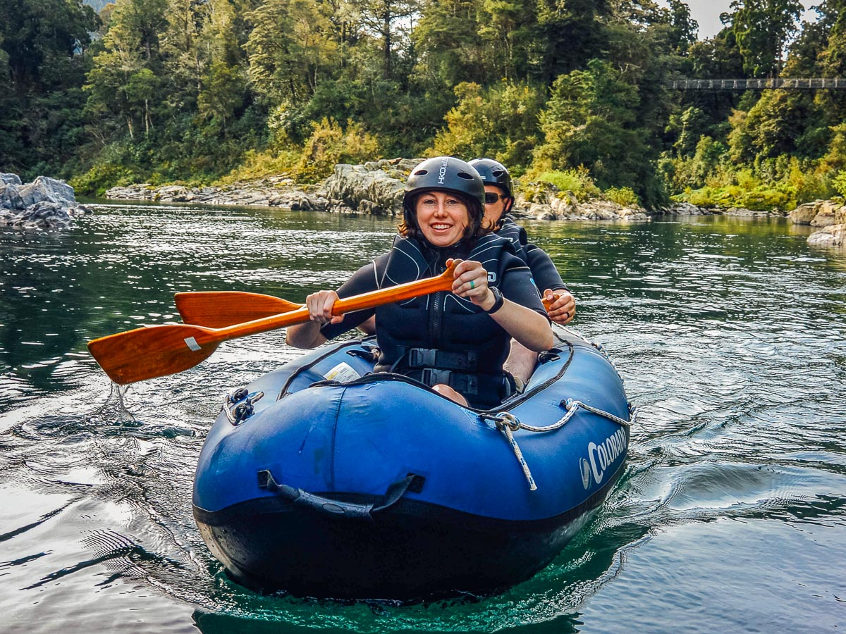Couple experiencing our Hobbit Kayak Tour in New Zealand