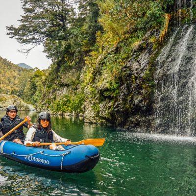 Couple kayaking close to Pelorus river falls