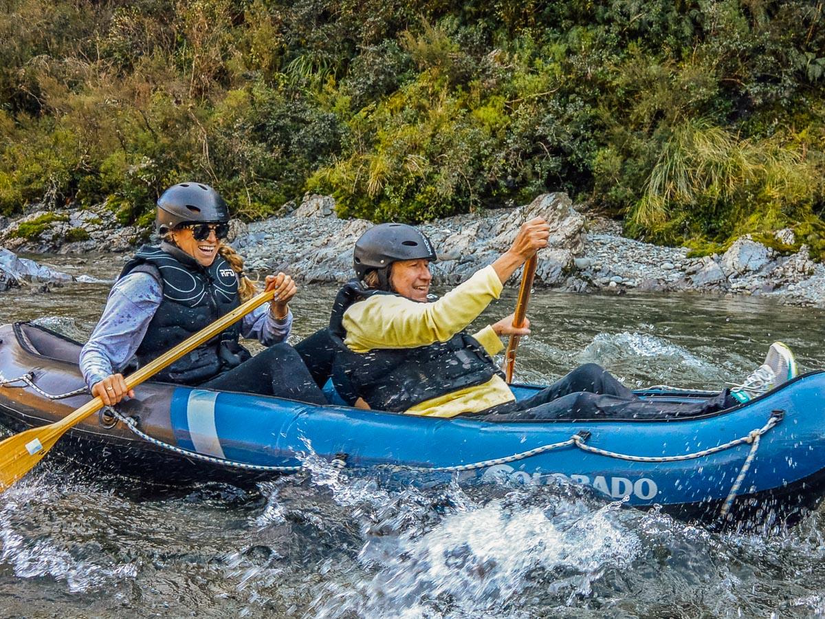 Friends kayaking at the Pelorus river
