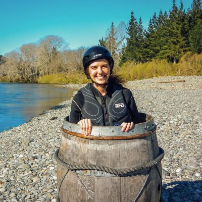 Girl in a barrel at the Pelorus river