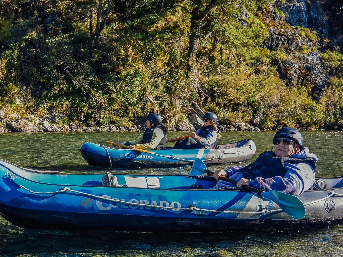 Group kayaking the Pelorus river