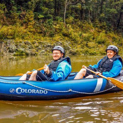 Happy couple kayaking