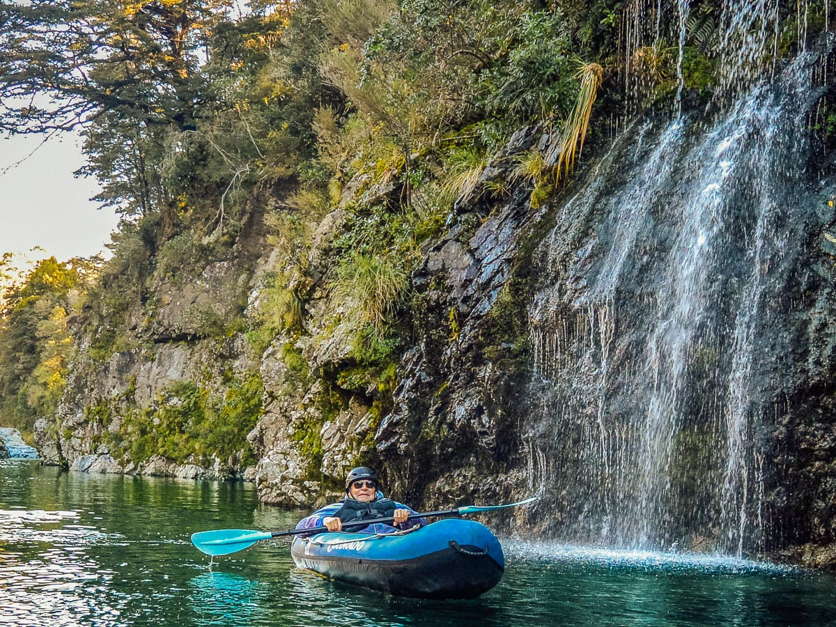 Kayaking close to Pelorus river falls