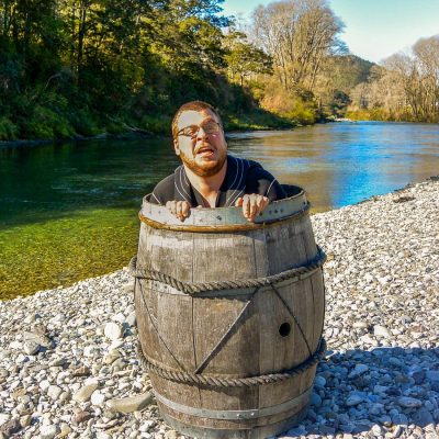 Man in a barrel at the Pelorus river