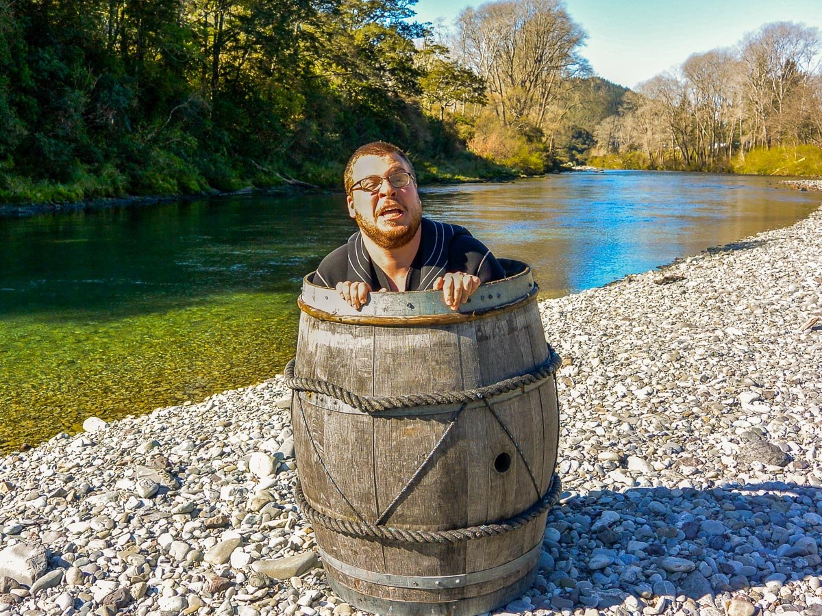 Man in a barrel at the Pelorus river