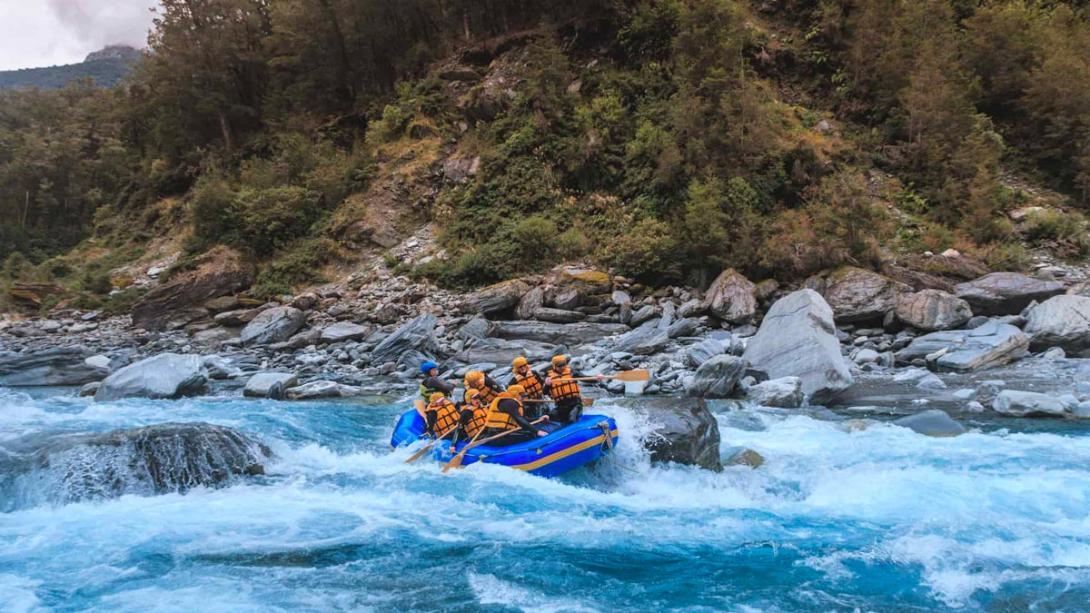 Whitewater Rafting on Landsborough River, New Zealand