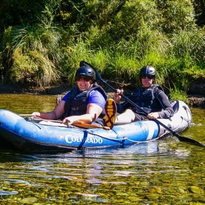 Couple kayaking at the Pelorus river, Marlborough