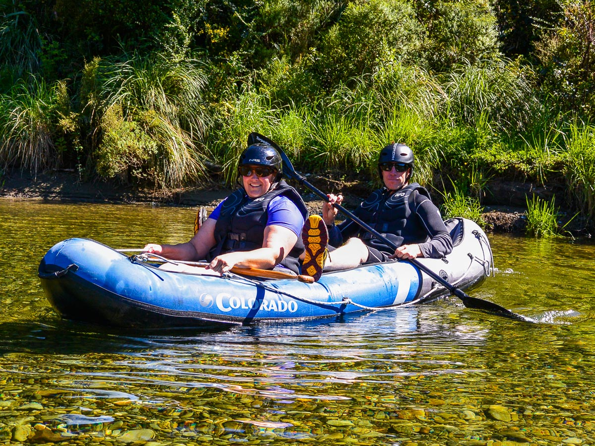 Couple kayaking at the Pelorus river, Marlborough