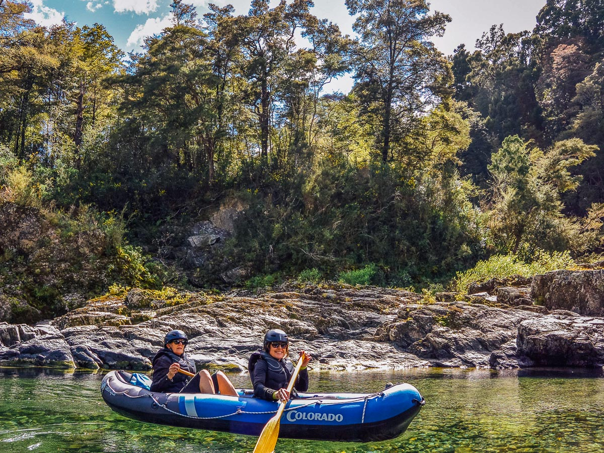 happy kayakers at the Pelorus river, New Zealand
