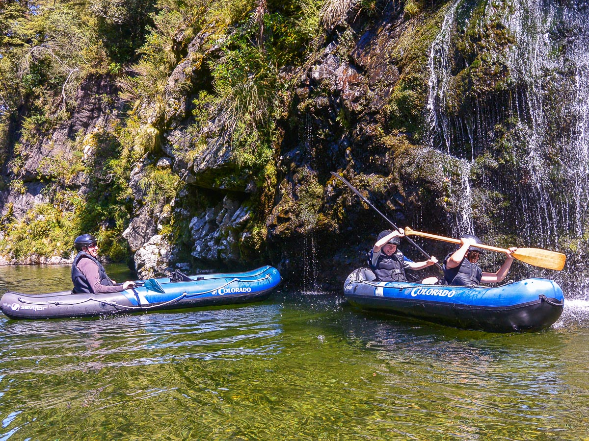 Kayaking close to the falls at the Pelorus river NZ