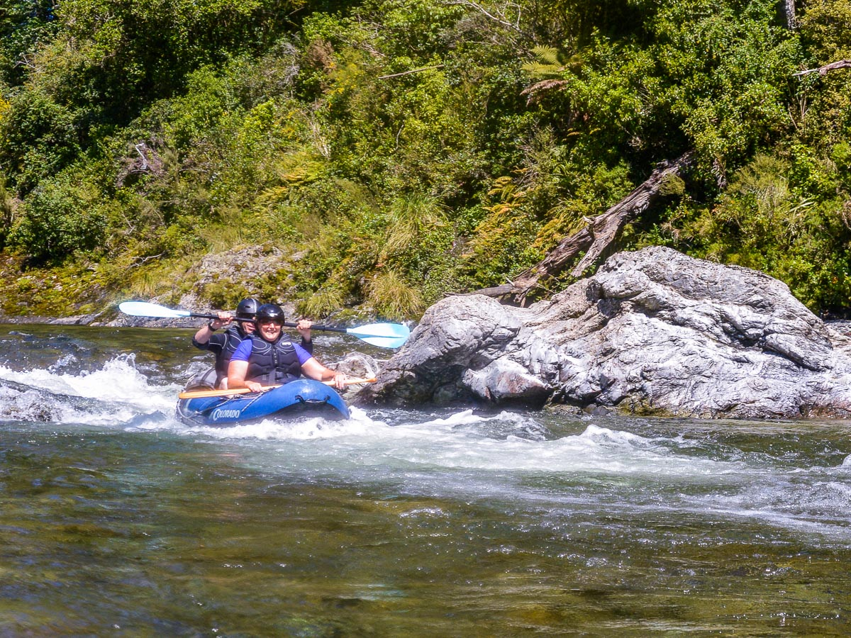 Kayaking rapids at the Pelorus river, NZ