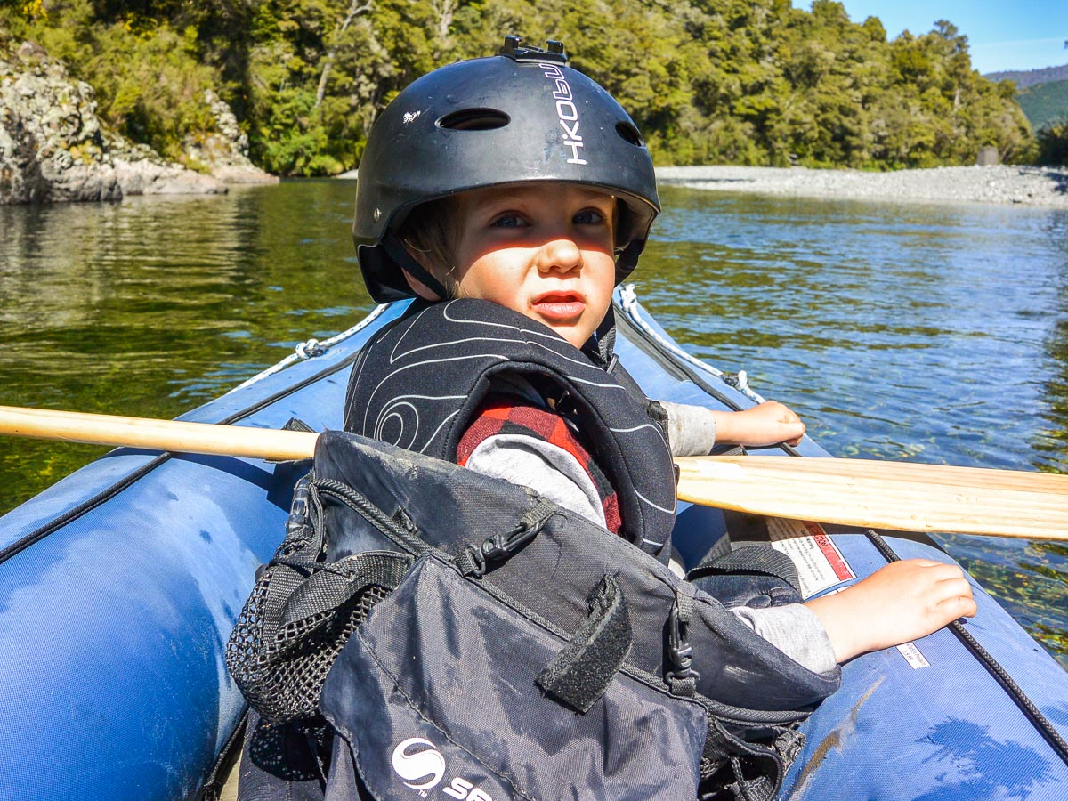 Kid at the Pelorus river, New Zealand