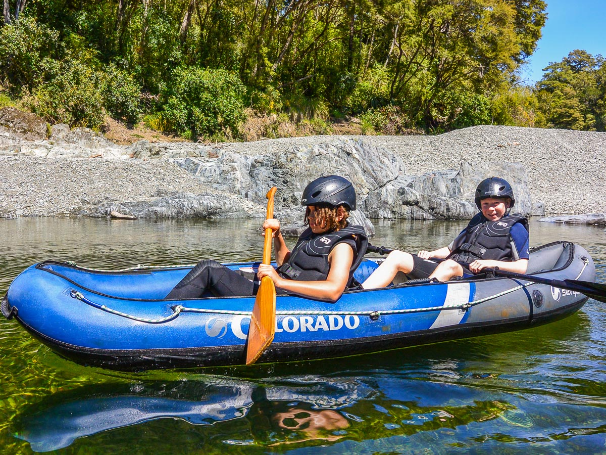 Kids experiencing our kayak tour in NZ