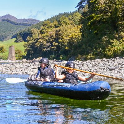Kids kayaking in New Zealand