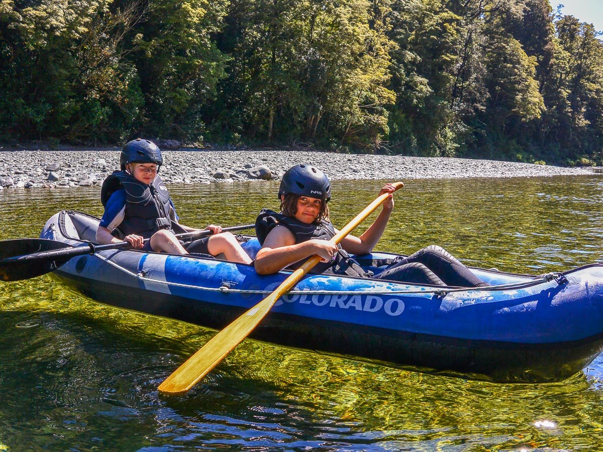 Kids at the Pelorus river, New Zealand