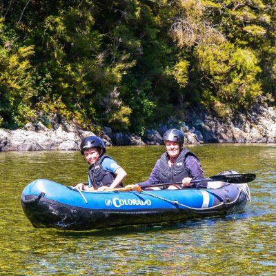 Mum and Son kayaking in Marlborough, NZ