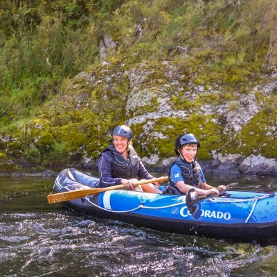 Mum and Son kayaking at the Pelorus river