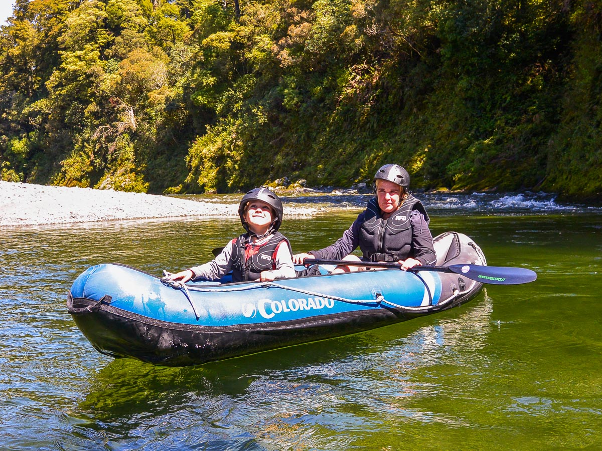 Mum and son at the Pelorus river, NZ