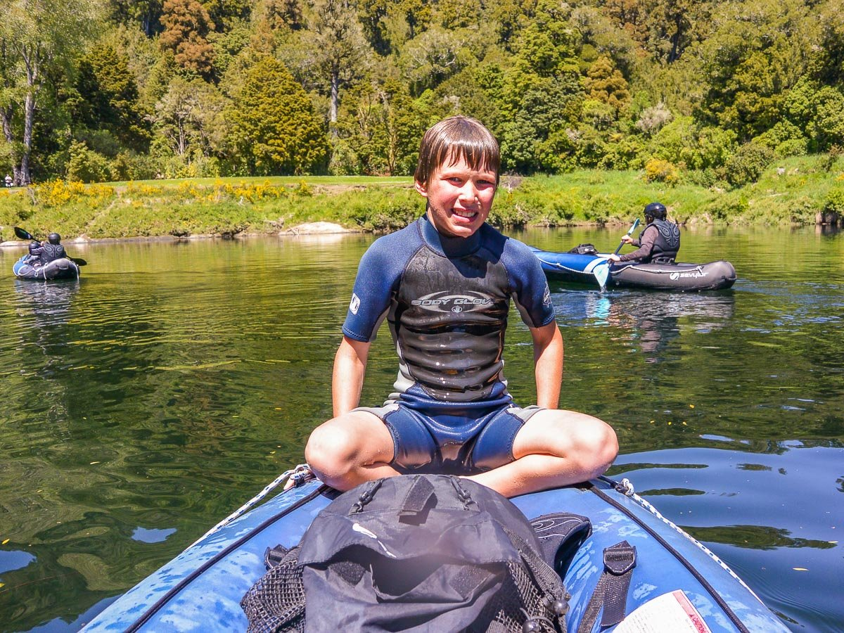 Young kayaker at the Pelorus river
