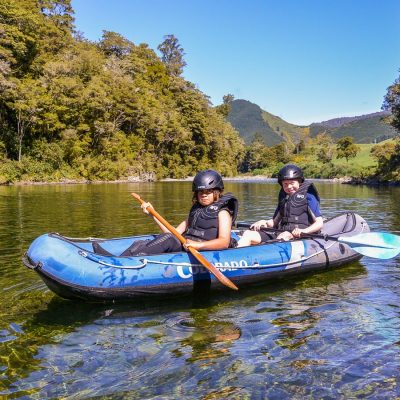 Young kayakers at the Pelorus river