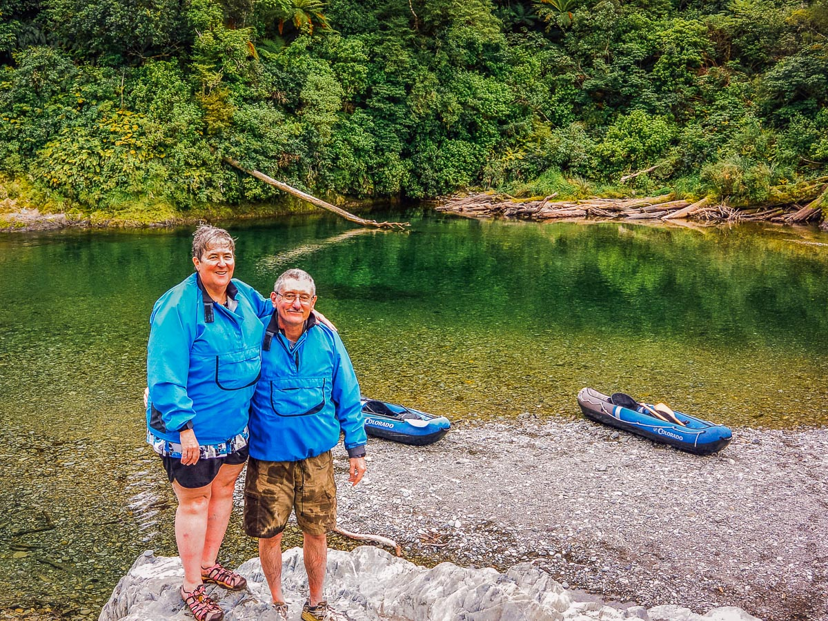Couple above the Pelorus river, New Zealand