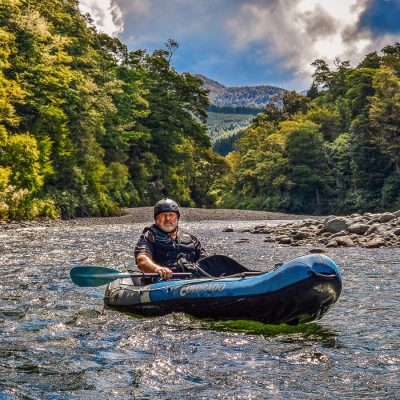 Kayaker at the Pelorus river, NZ