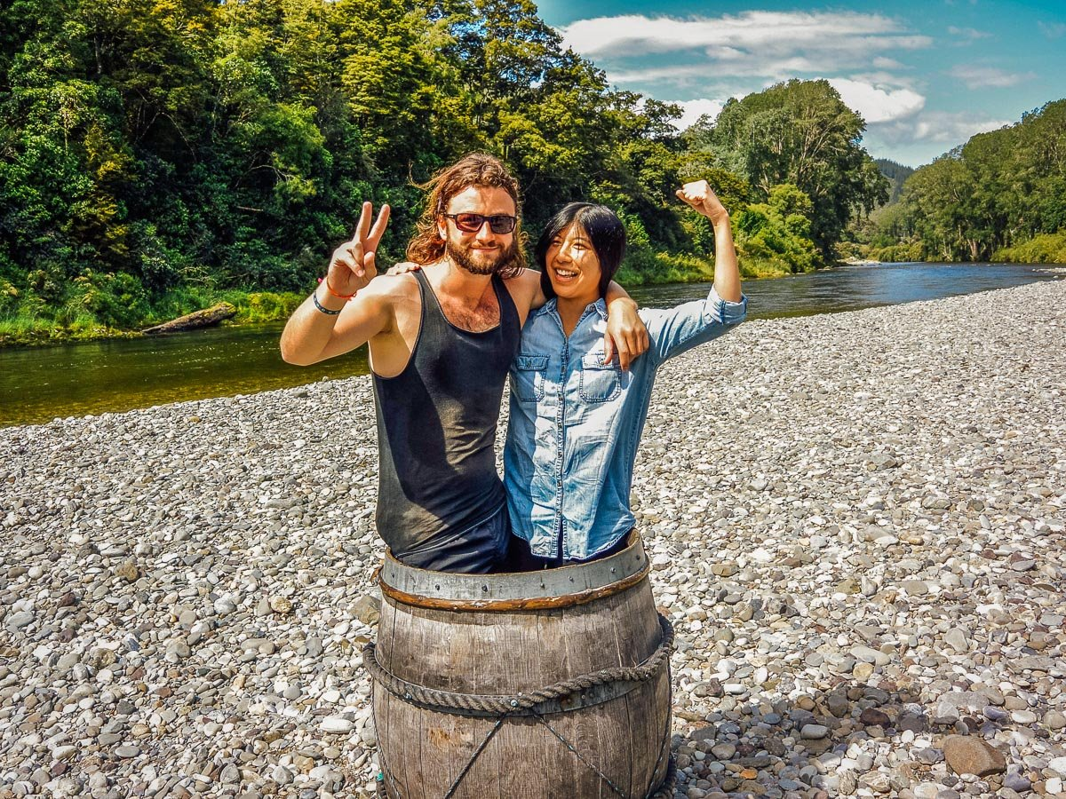 Couple in a Barrel at the Pelorus river