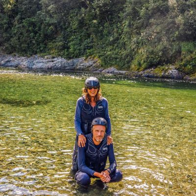 Couple bathing at the Pelorus river