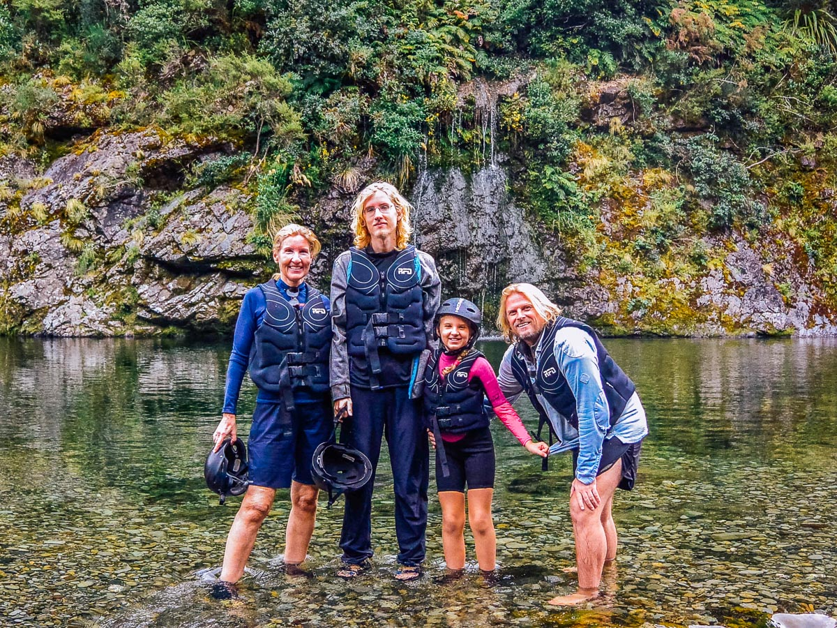 Family at the Pelorus river falls