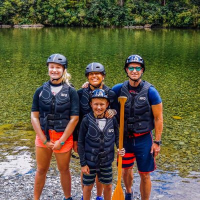 Family at the Pelorus river, New Zealand