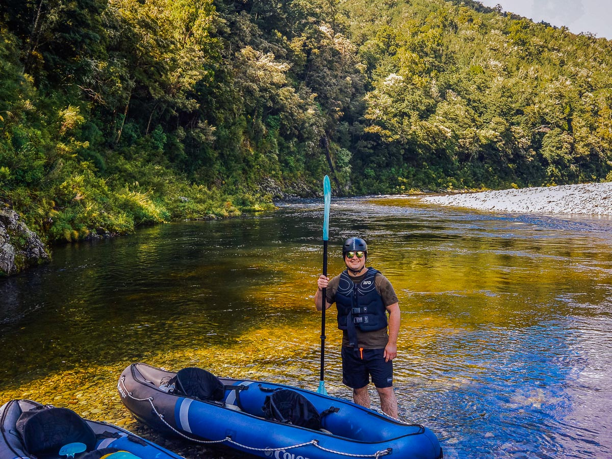 Happy kayaker at the Pelorus river