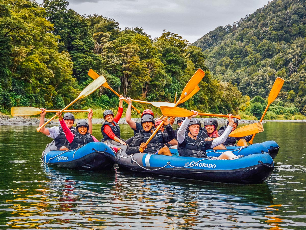 Kayaking group at the Pelorus river, Havelock