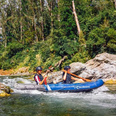 Couple Kayaking the Pelorus river in Havelock, NZ