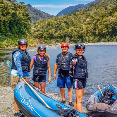 Family at the Pelorus river, Marlborough