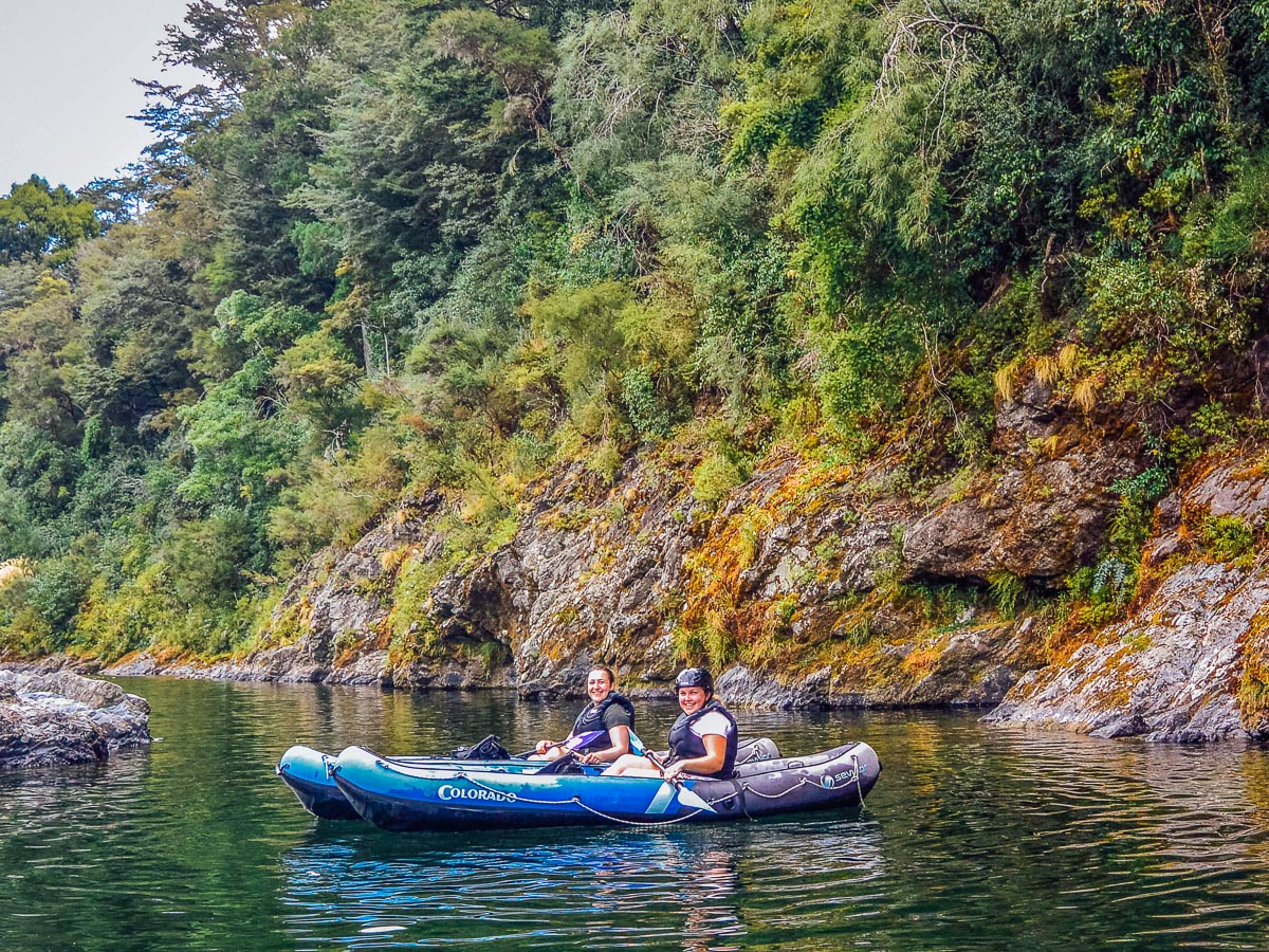 Friends kayaking the Pelorus river, NZ