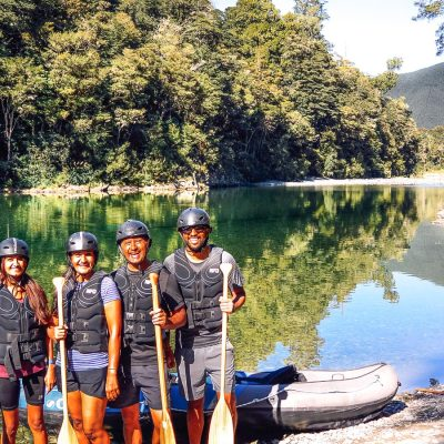 Group at the Pelorus river, Havelock