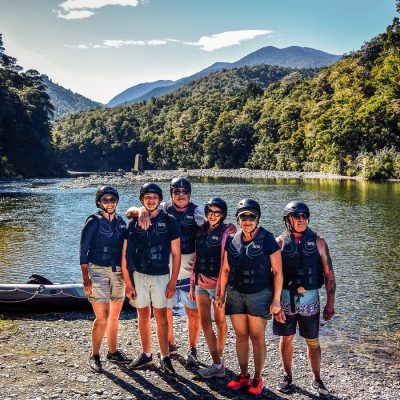 Group at the Pelorus river, Marlborough NZ