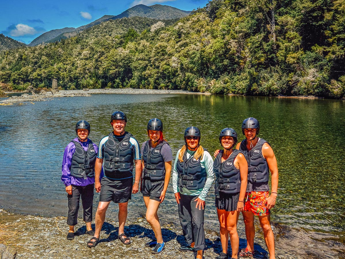 Group at the Pelorus river, Marlborough