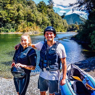 Dad and daughter at the Pelorus river, Havelock