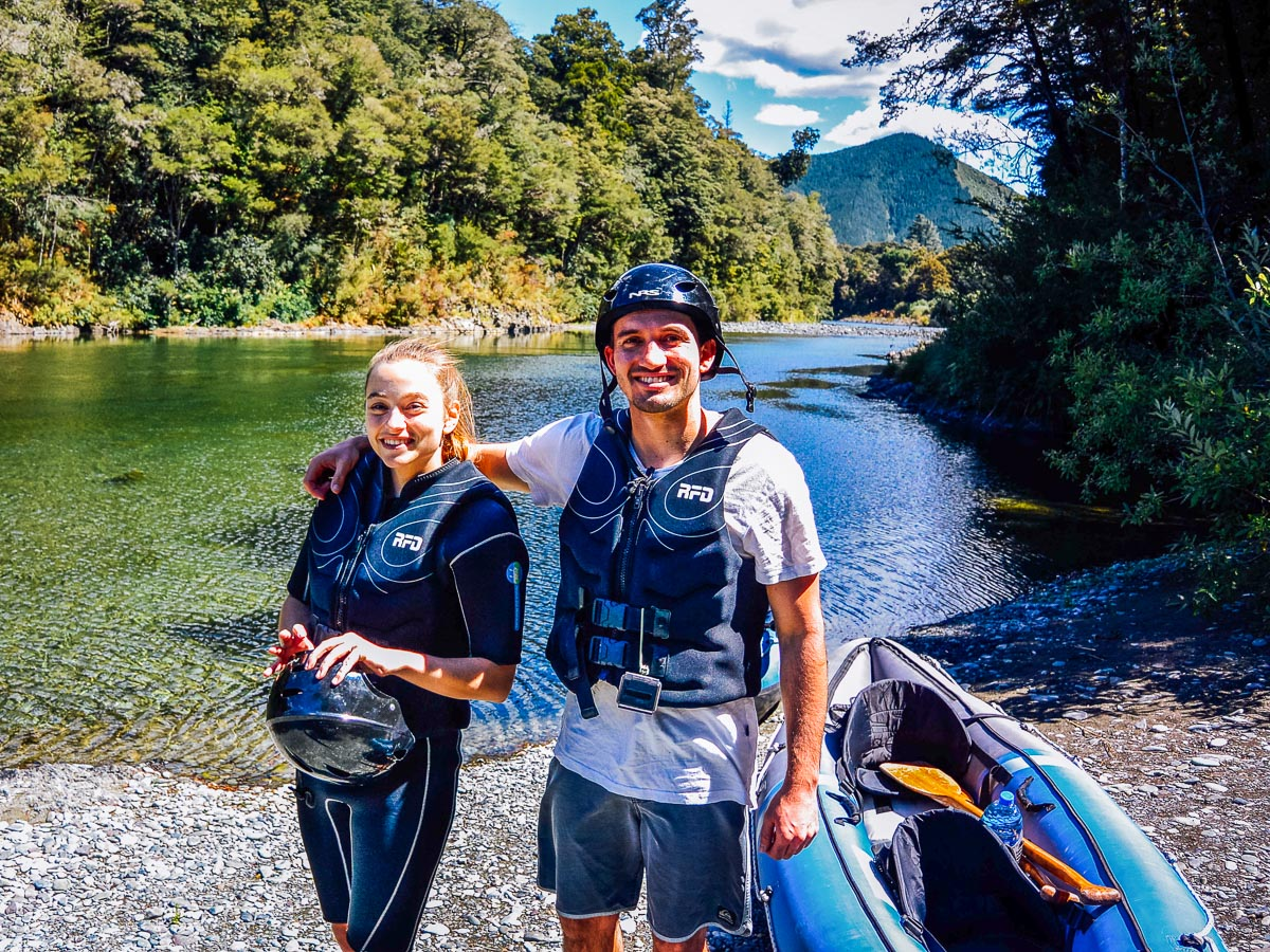 Dad and daughter at the Pelorus river, Havelock