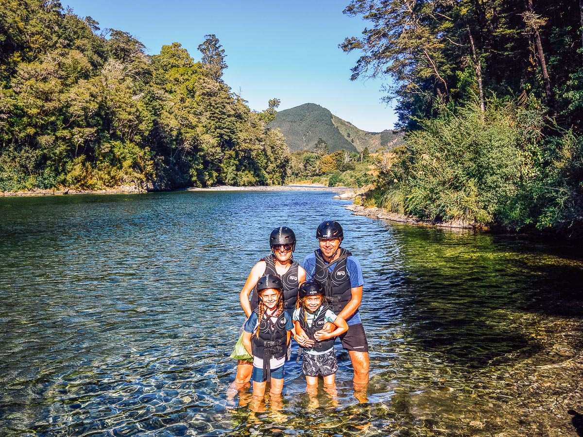 Family at the Pelorus river, Havelock NZ