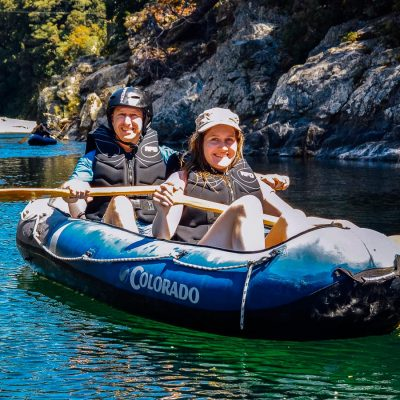 Happy couple kayaking in NZ